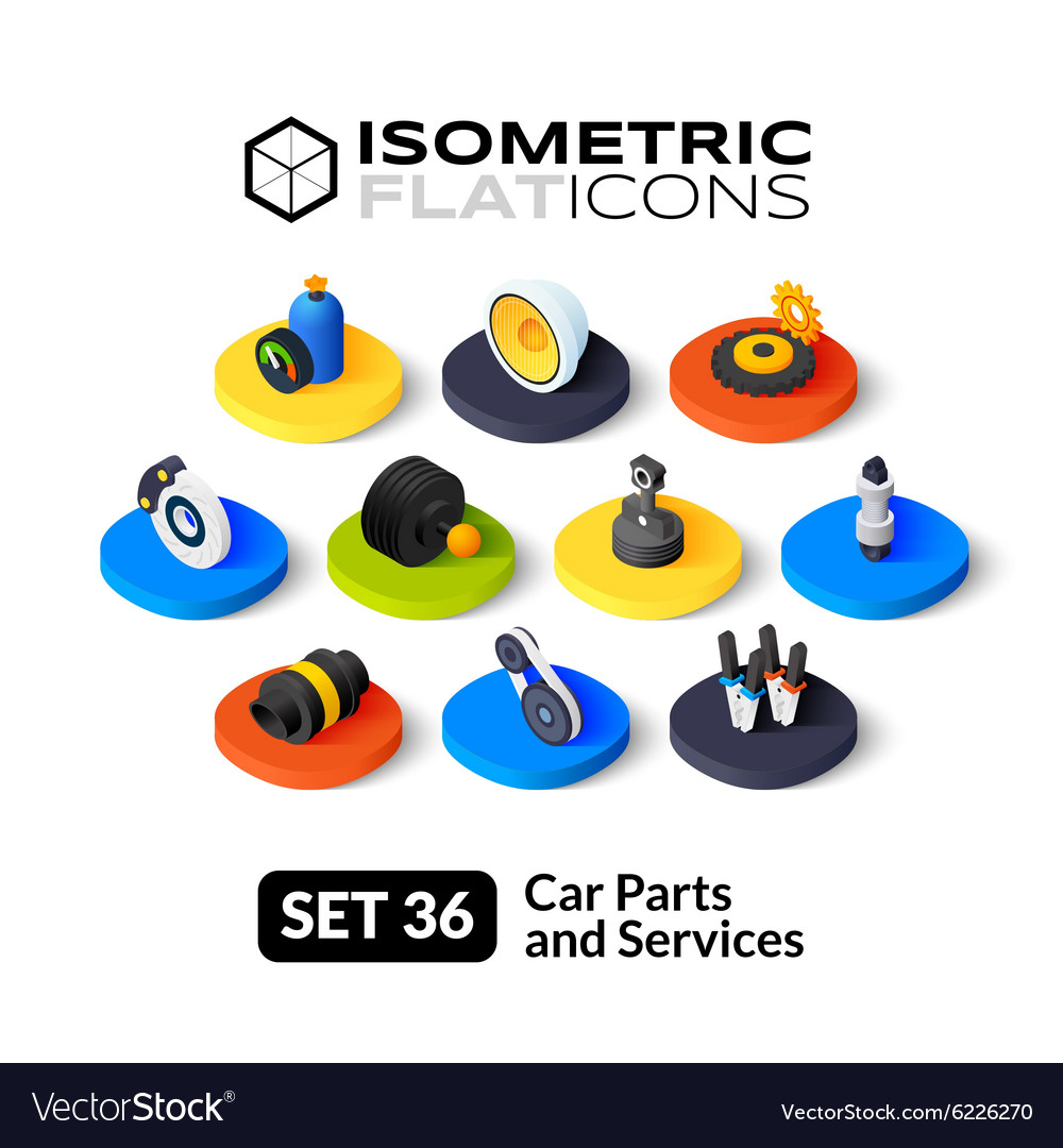 Isometric flat icons set 36 vector