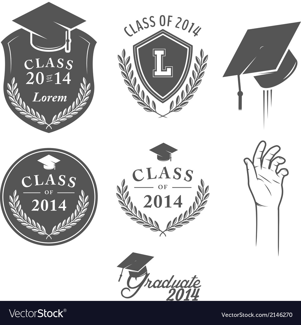 Set of vintage graduation labels badges and desig vector