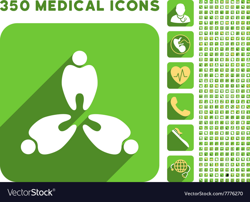 Three teeth icon and medical longshadow icon set vector