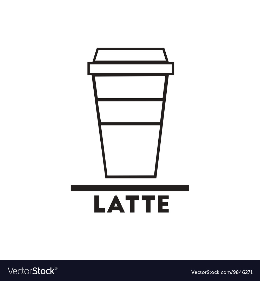 Black icon on white background latte to go vector