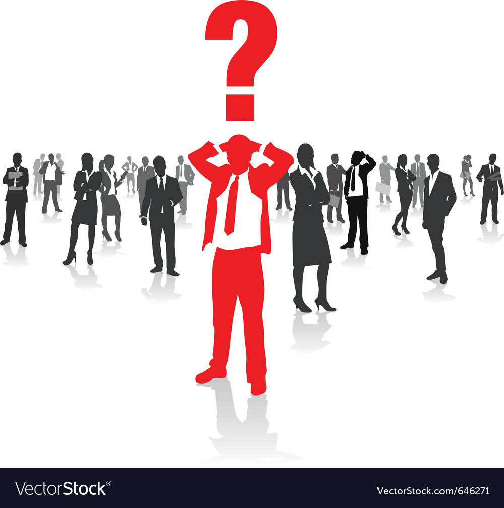 Business people group and a confused man vector