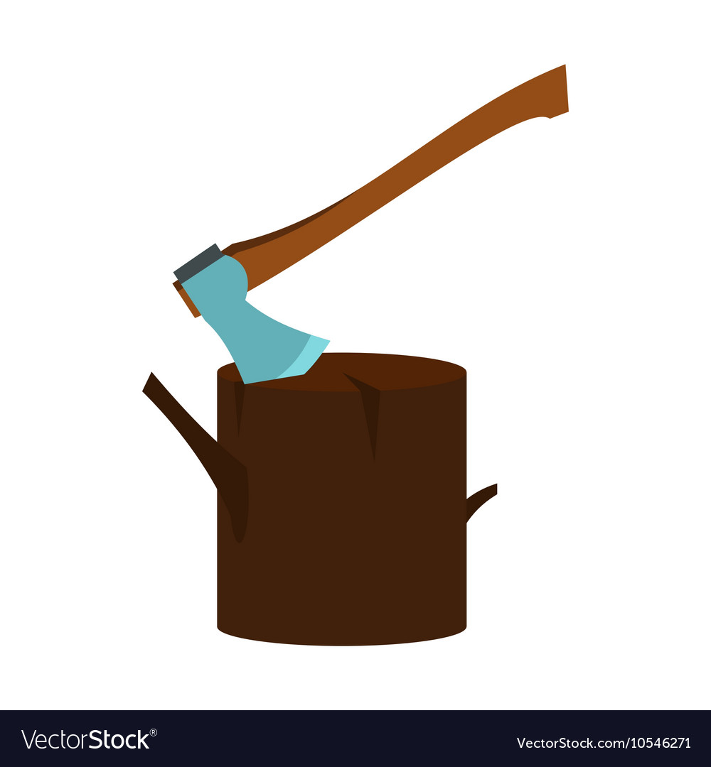 Stump with axe icon flat style vector