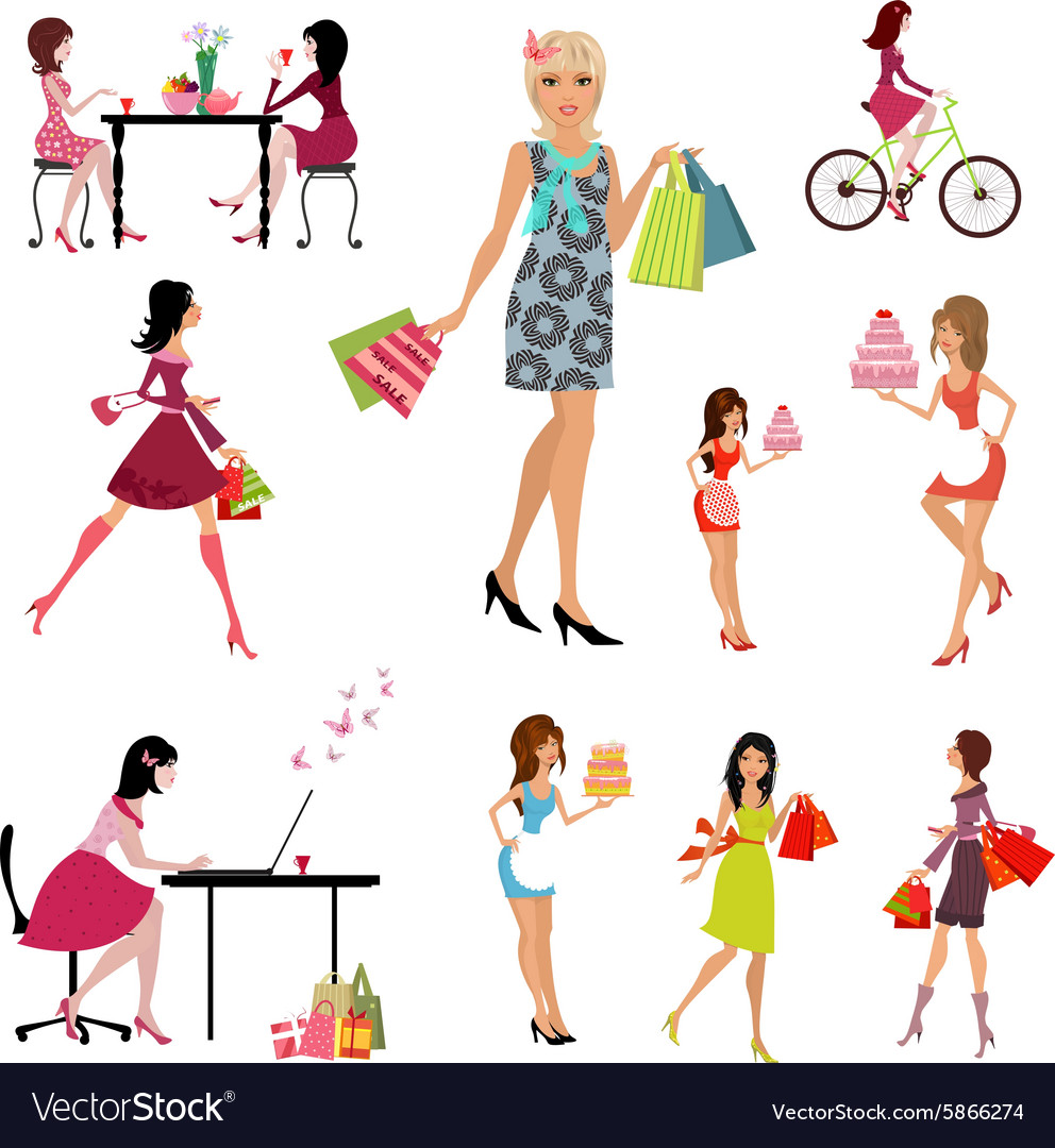 Collection of beautiful fashion young women vector