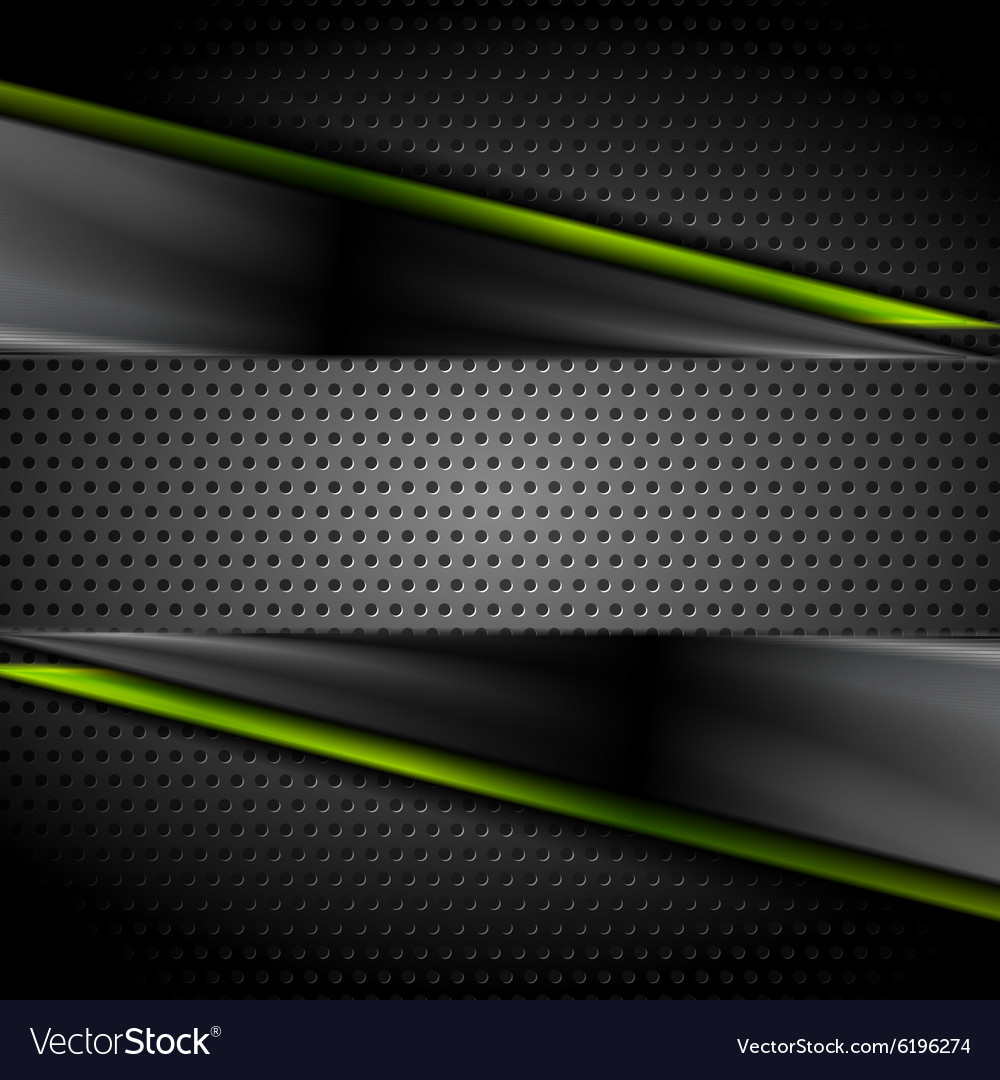 Tech dark glossy background with perforated metal vector