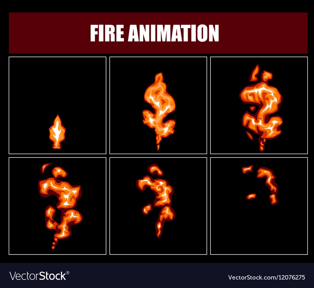 Fire animation sprites flame video frames vector