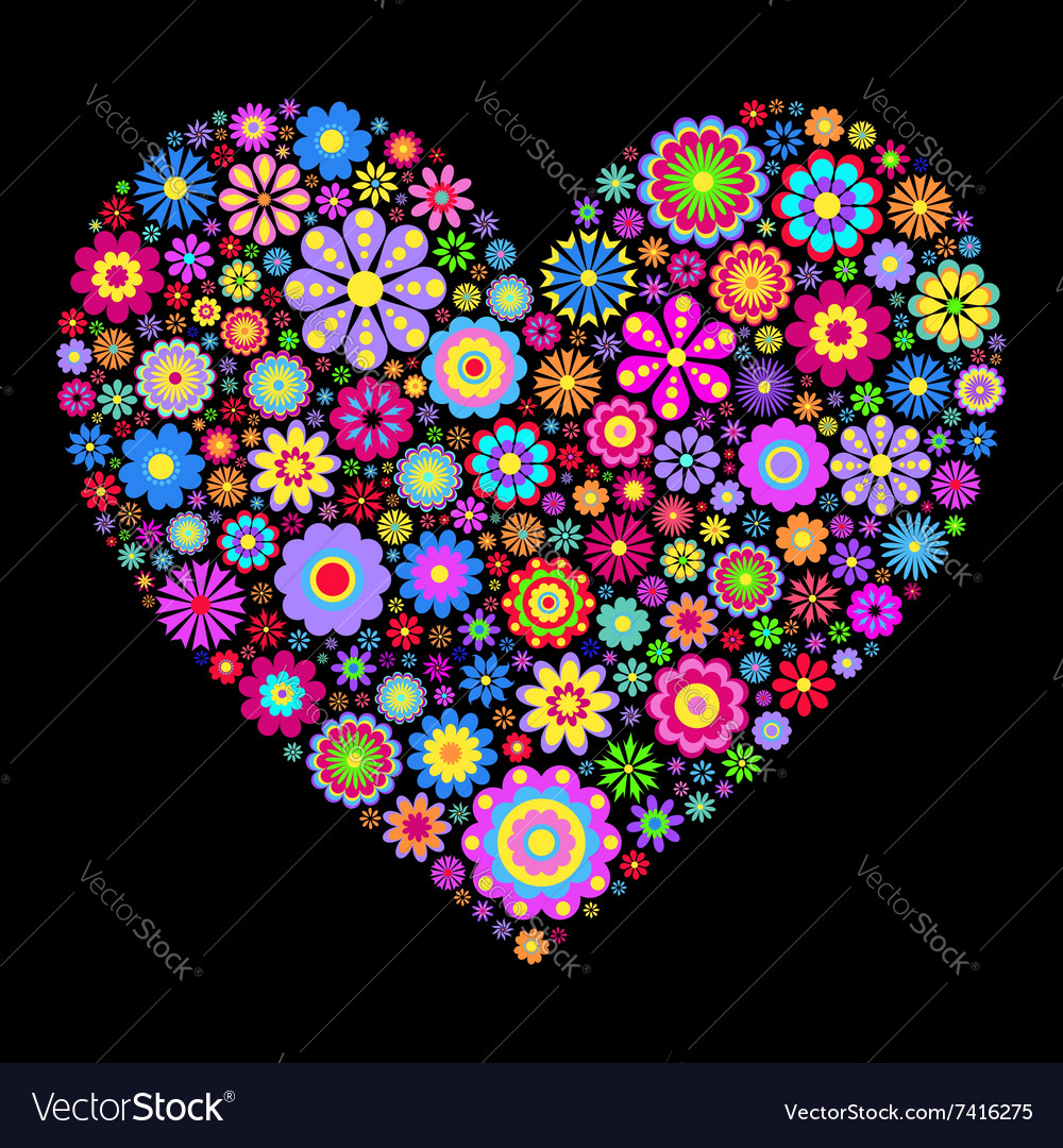 Floral heart on black background vector