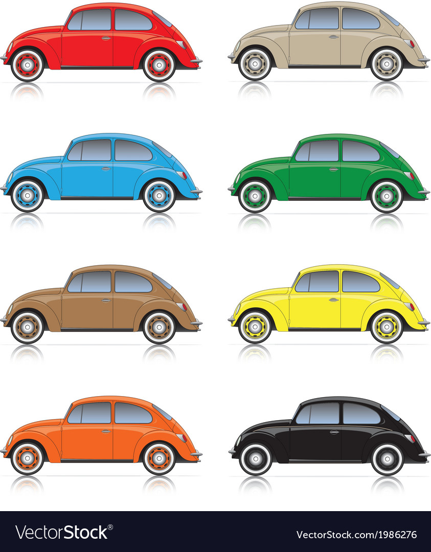 Set of colorful compact cars vector