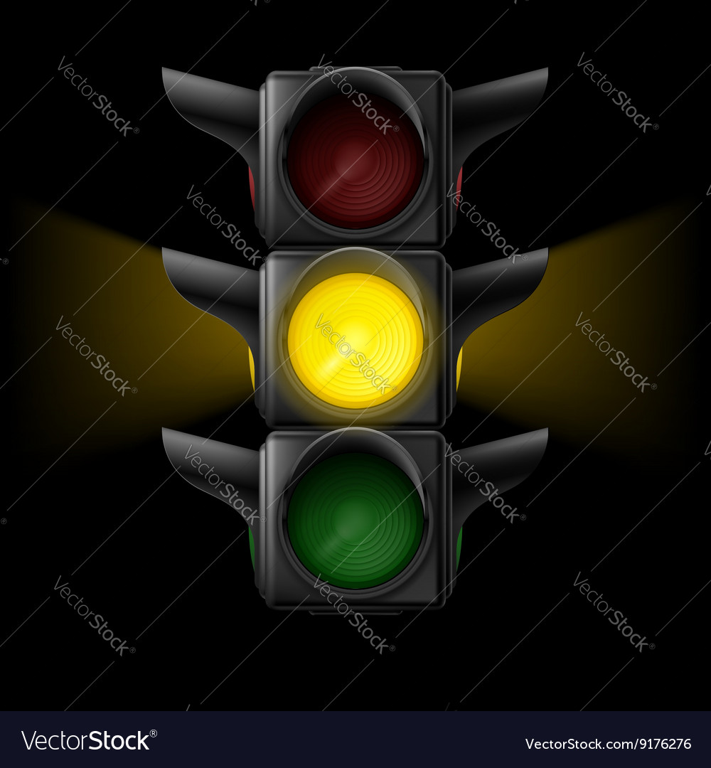 Traffic light with yellow on vector