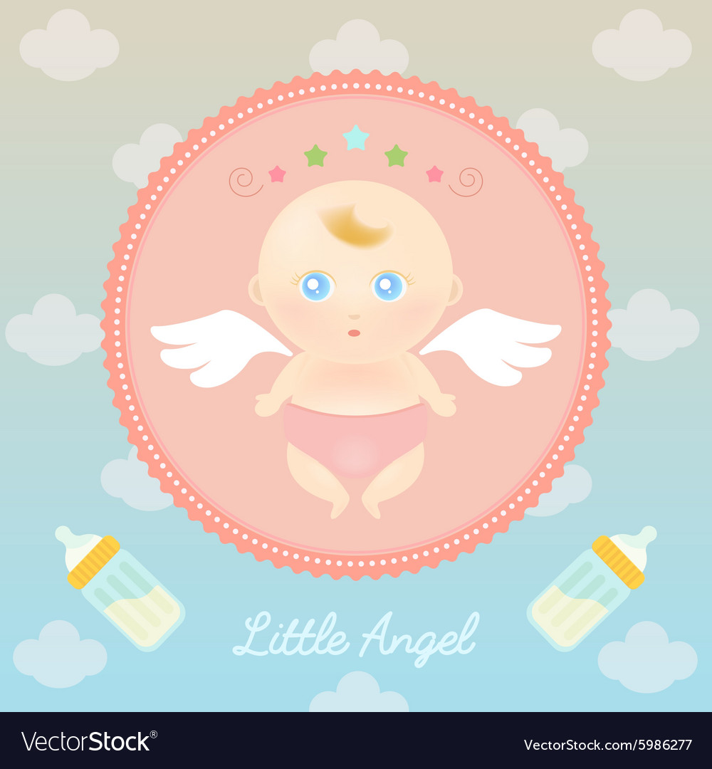 Cute angel baby with milk bottle vector