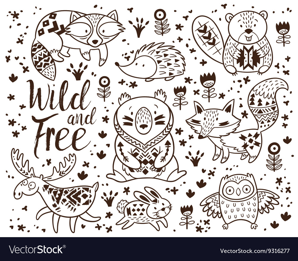 Decorative ornamental woodland animals set vector