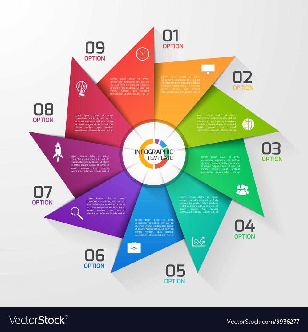 Windmill style infographic template 9 options vector