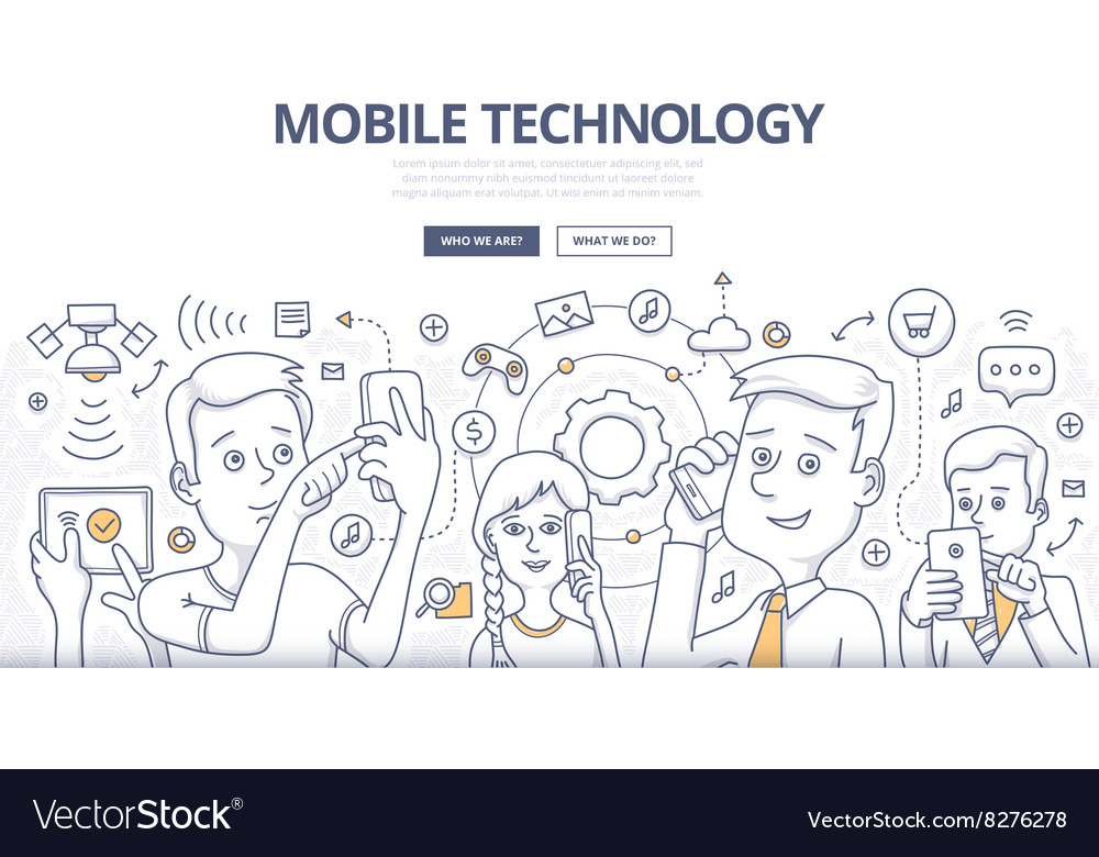 Mobile technology doodle concept vector