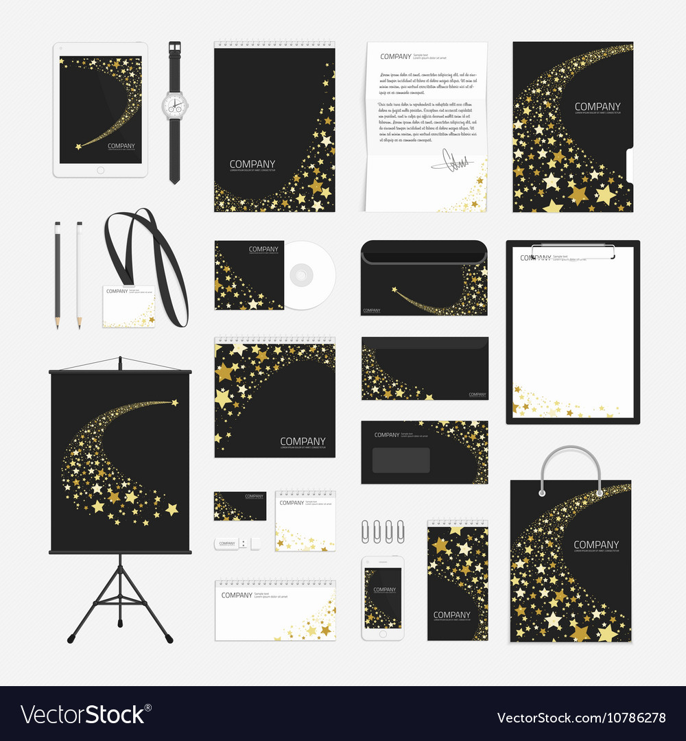 Yellow stars corporate identity template vector