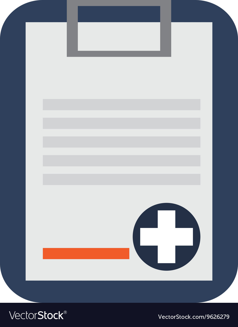 Medical history on clipboard icon vector