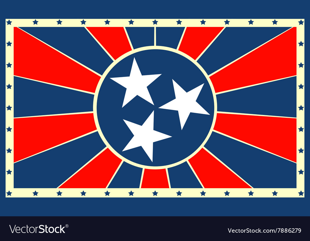 Tennessee state sun rays banner vector