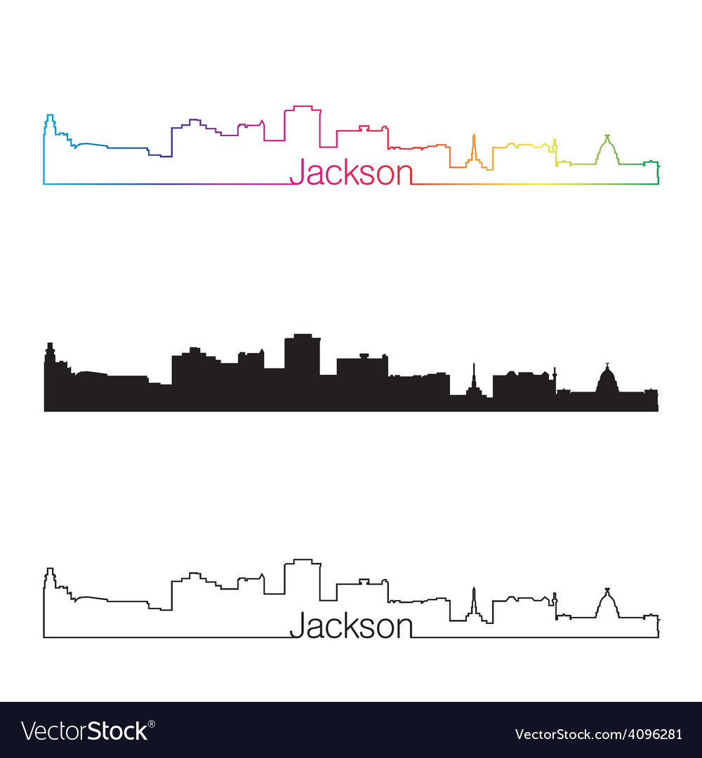 Jackson skyline linear style with rainbow vector