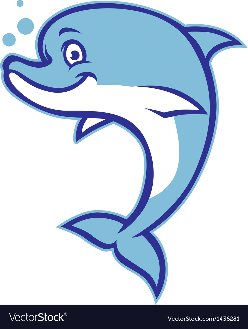 Smiling cartoon dolphin vector