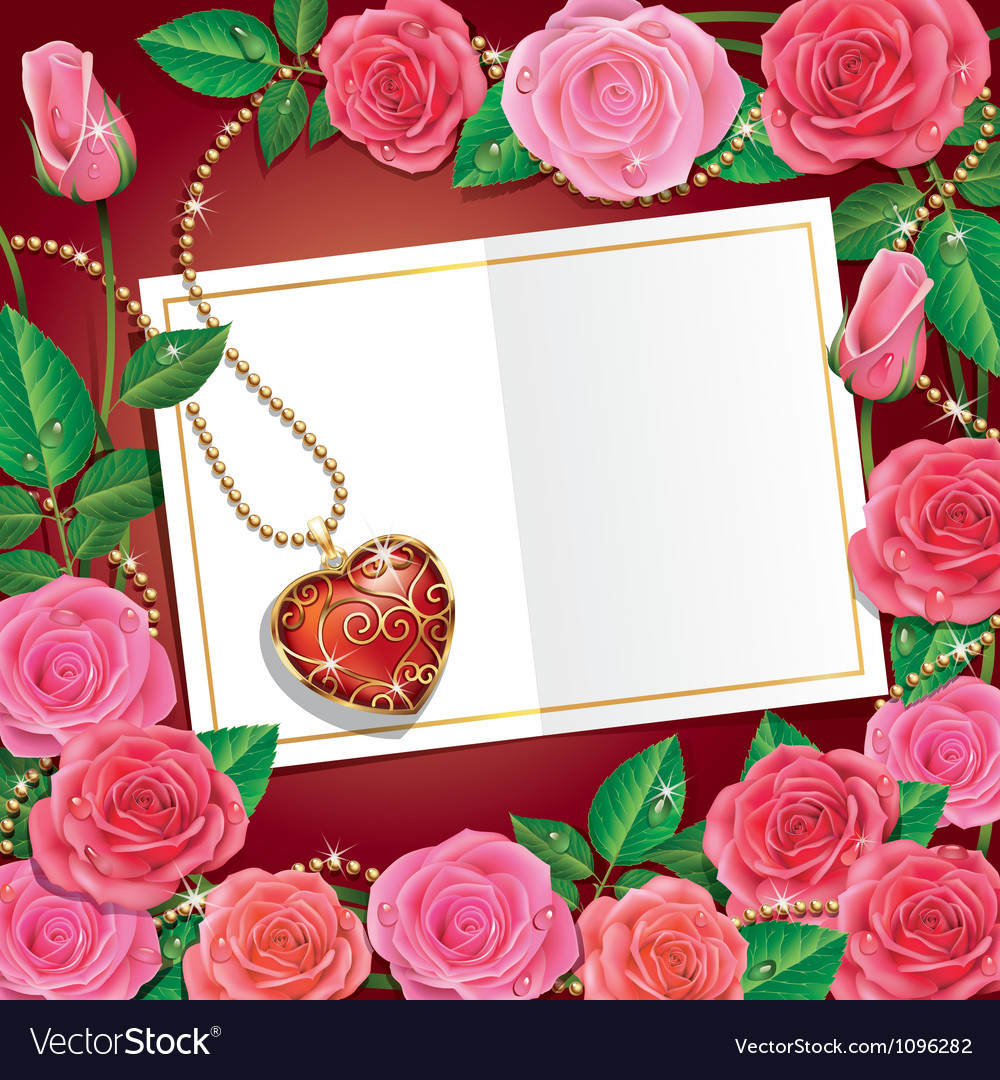Beautiful roses with necklet and card vector