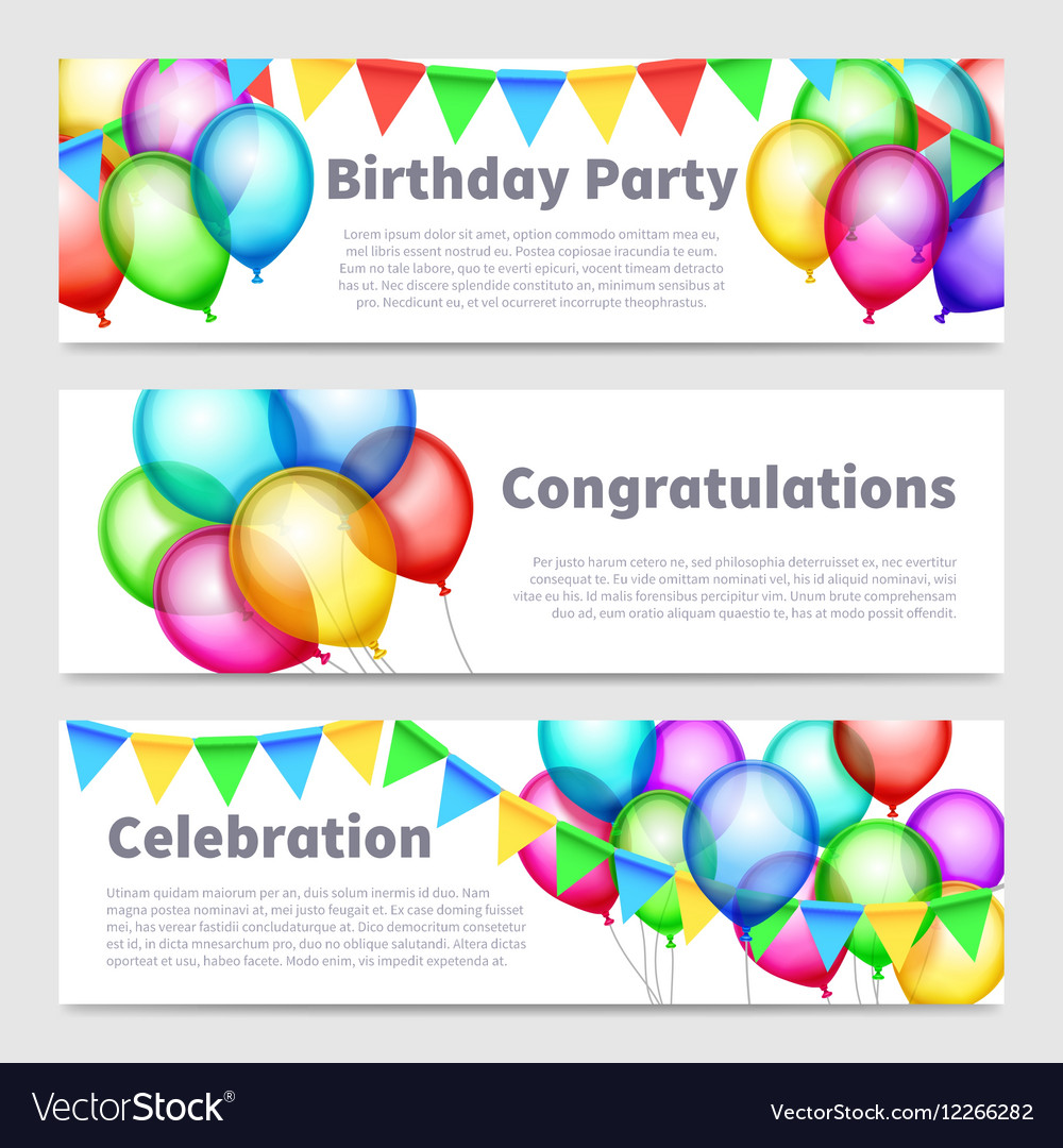 Birthday party banners with celebration rainbow vector