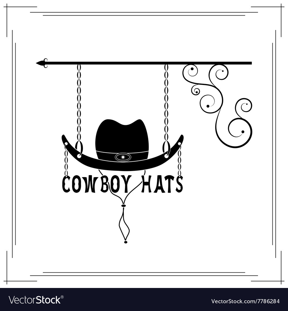 Cowboy hats single signboard vector