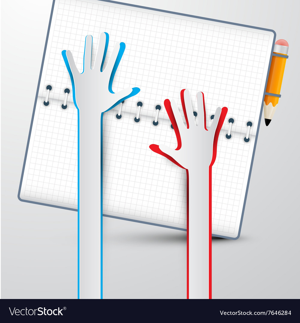 Paper hands with notebook vector