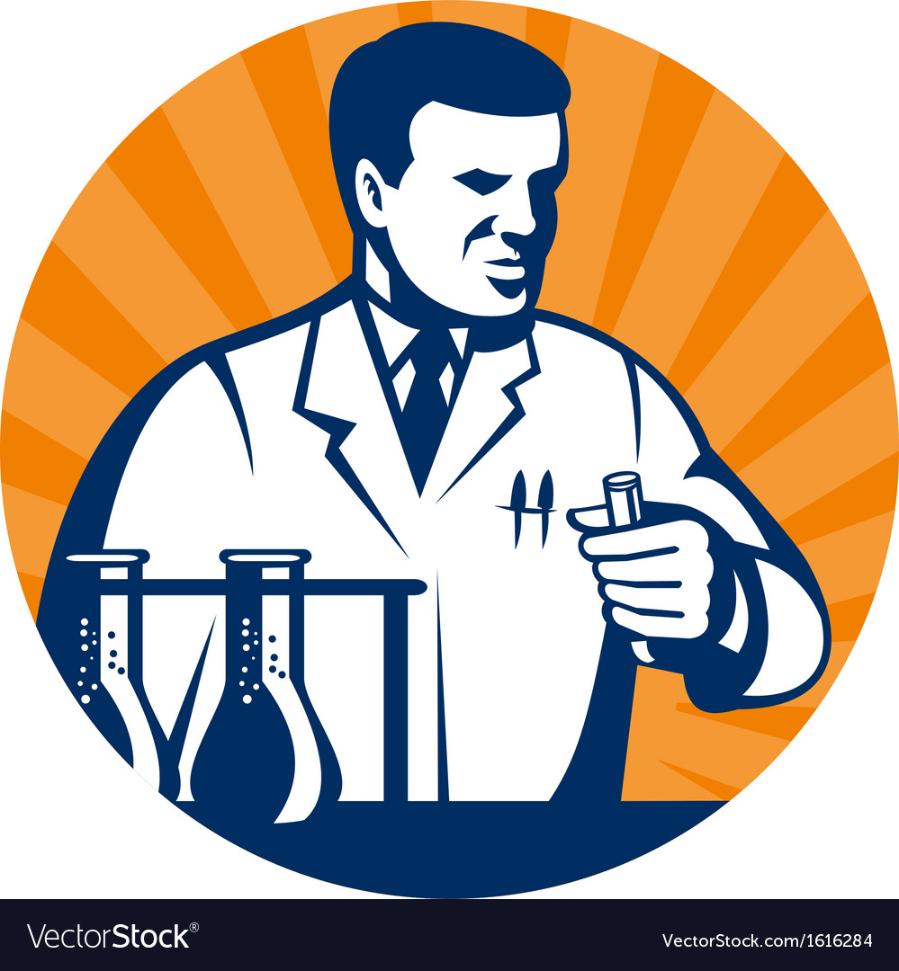 Scientist with laboratory apparatus test tube vector