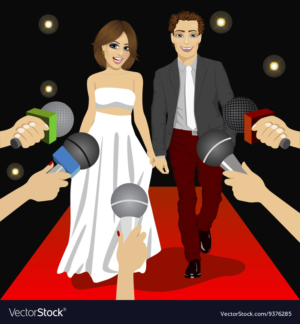 Fashionable couple on a red carpet event vector