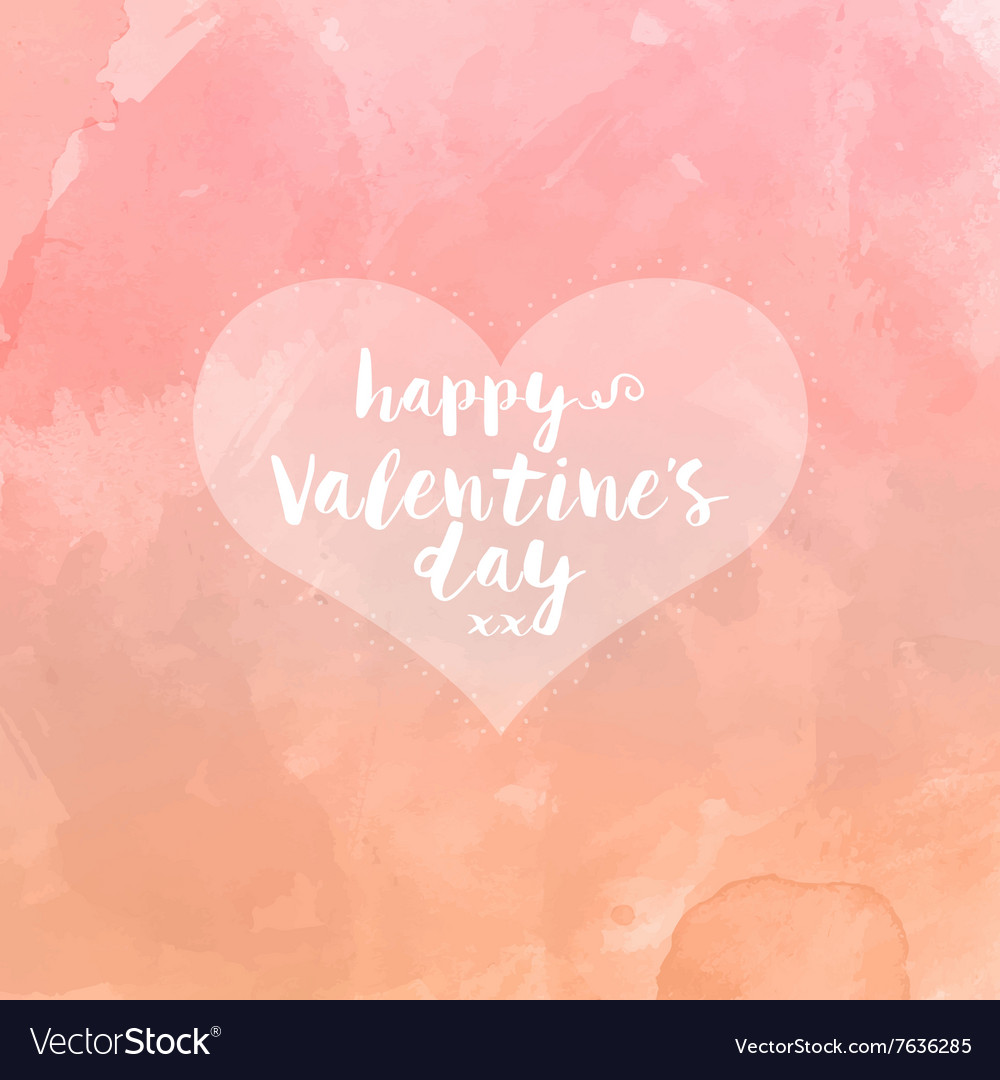 Heart on watercolour valentines day background vector