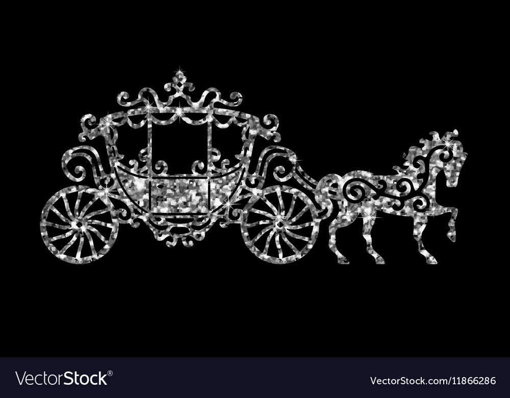 Horse carriage silver silhouette vector