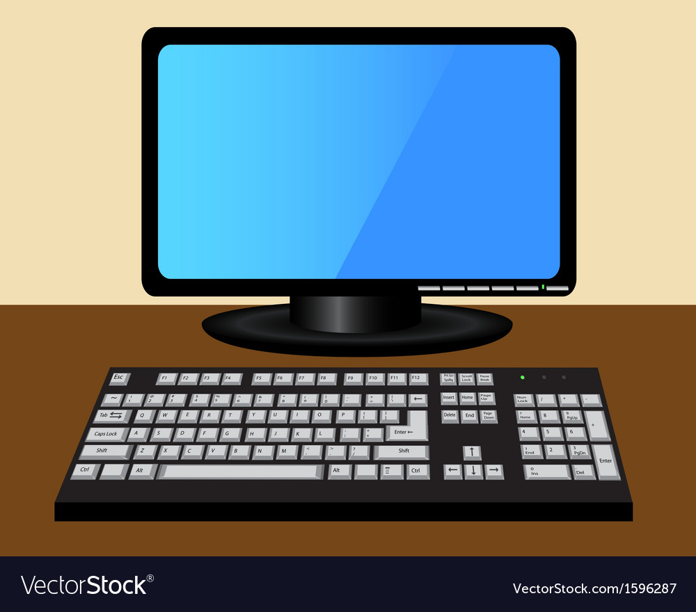 Monitor and keyboard on the table vector