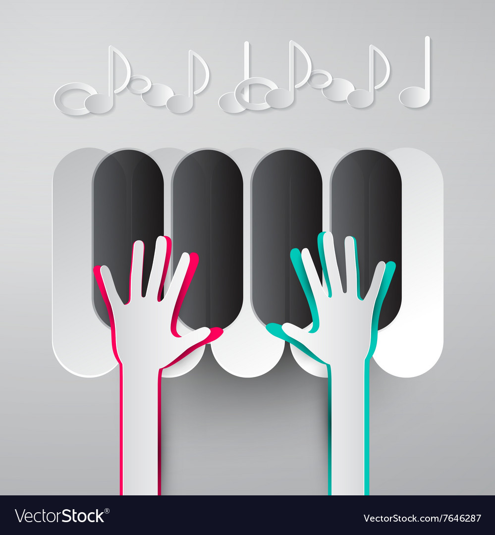 Paper hands playing piano keyboards with notes vector