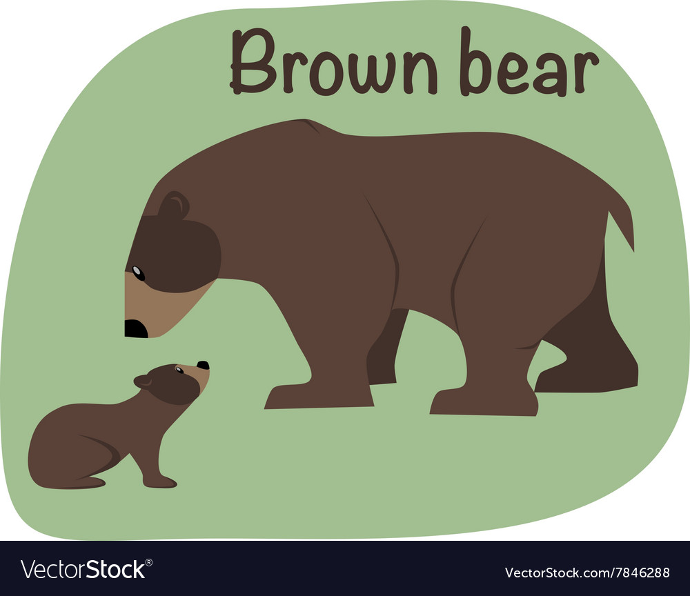 Grizzly bear whith child vector