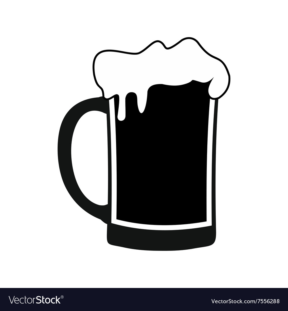 Mug of beer black simple icon vector