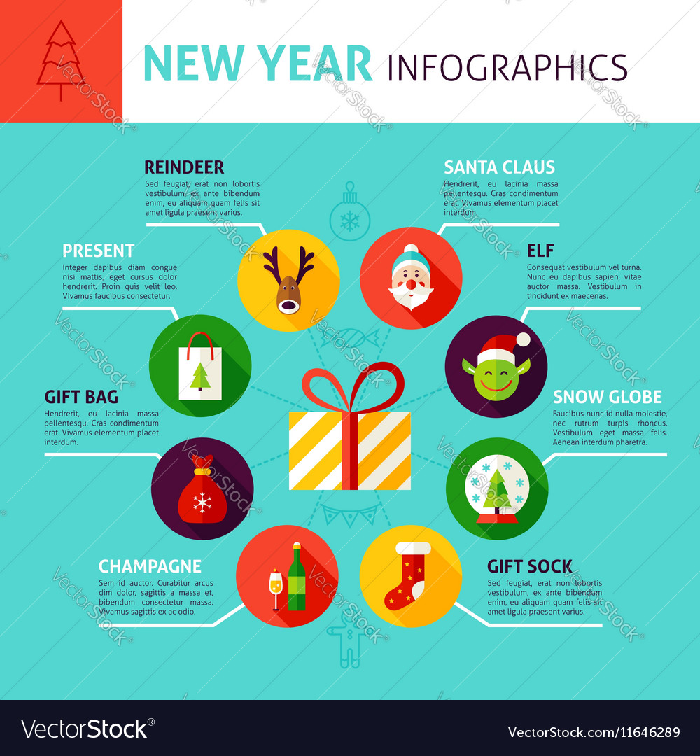 New year concept infographics vector