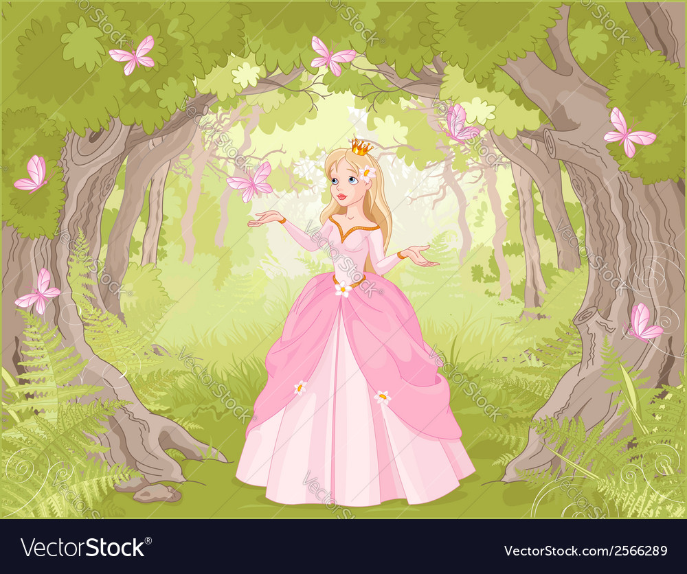 Strolling princess in the fantastic wood vector