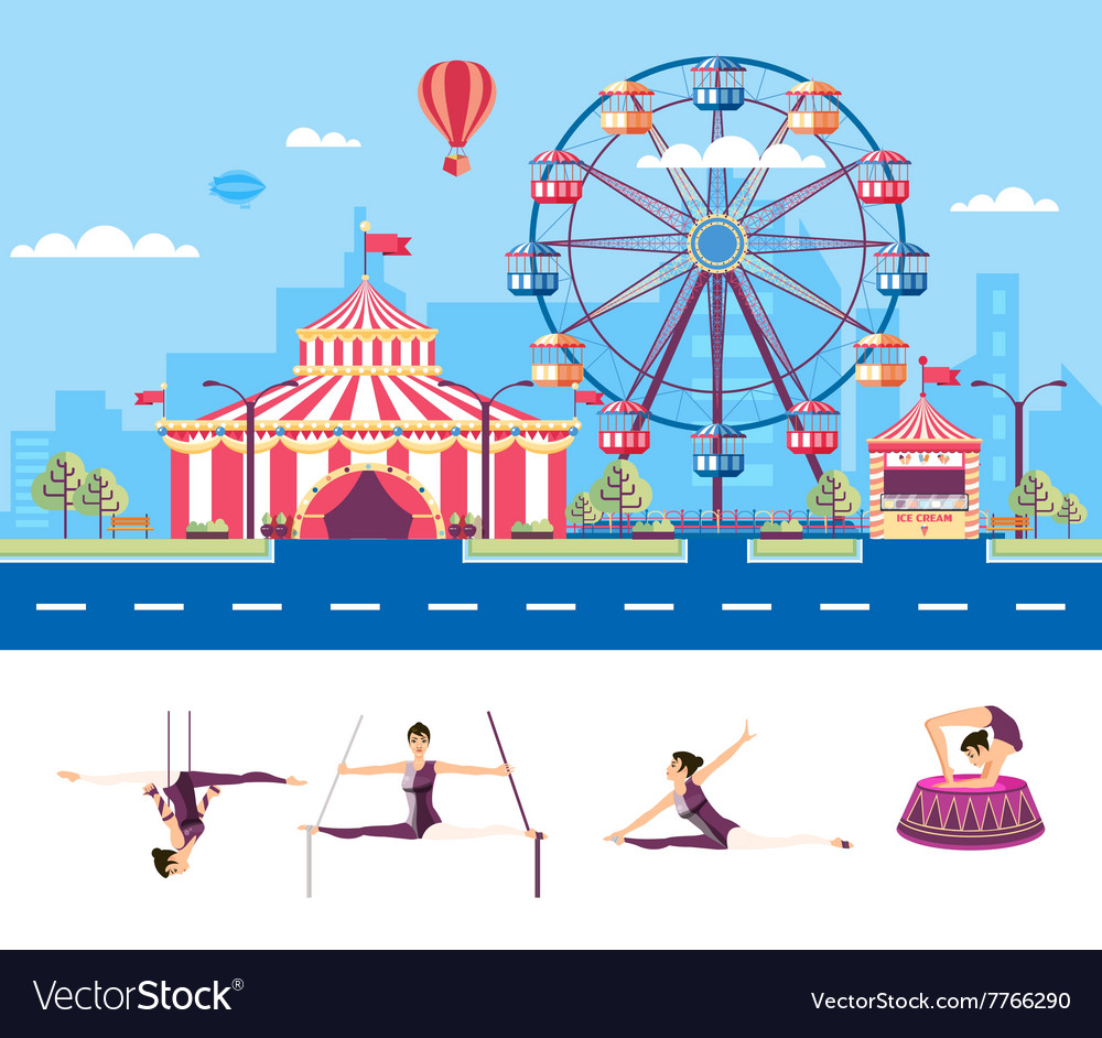 Circus with gymnasts vector