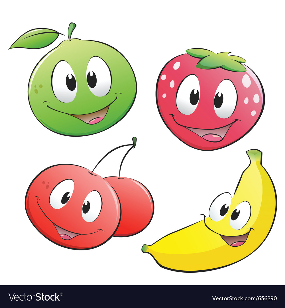 Cute cartoon fruits vector