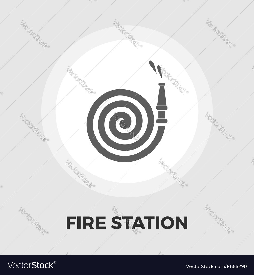 Fire station flat icon vector
