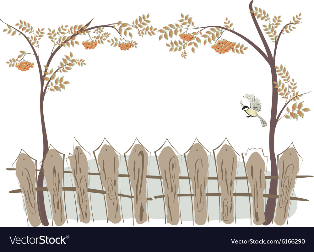 Frame in the form of a fence and rowan eps10 vector