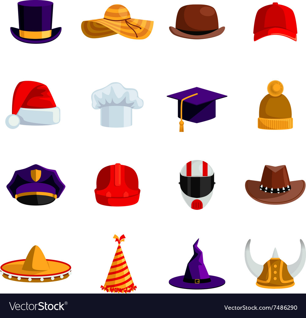 Hats and caps flat color icons vector