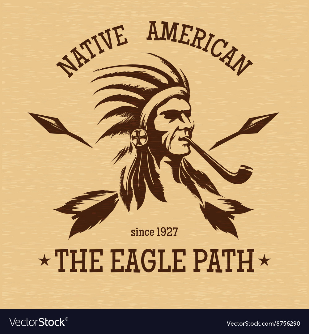 Native american indian vintage print vector
