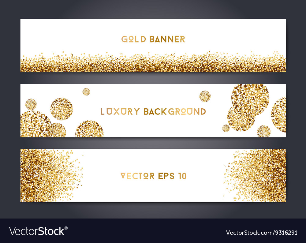 Abstract gold banner templates vector