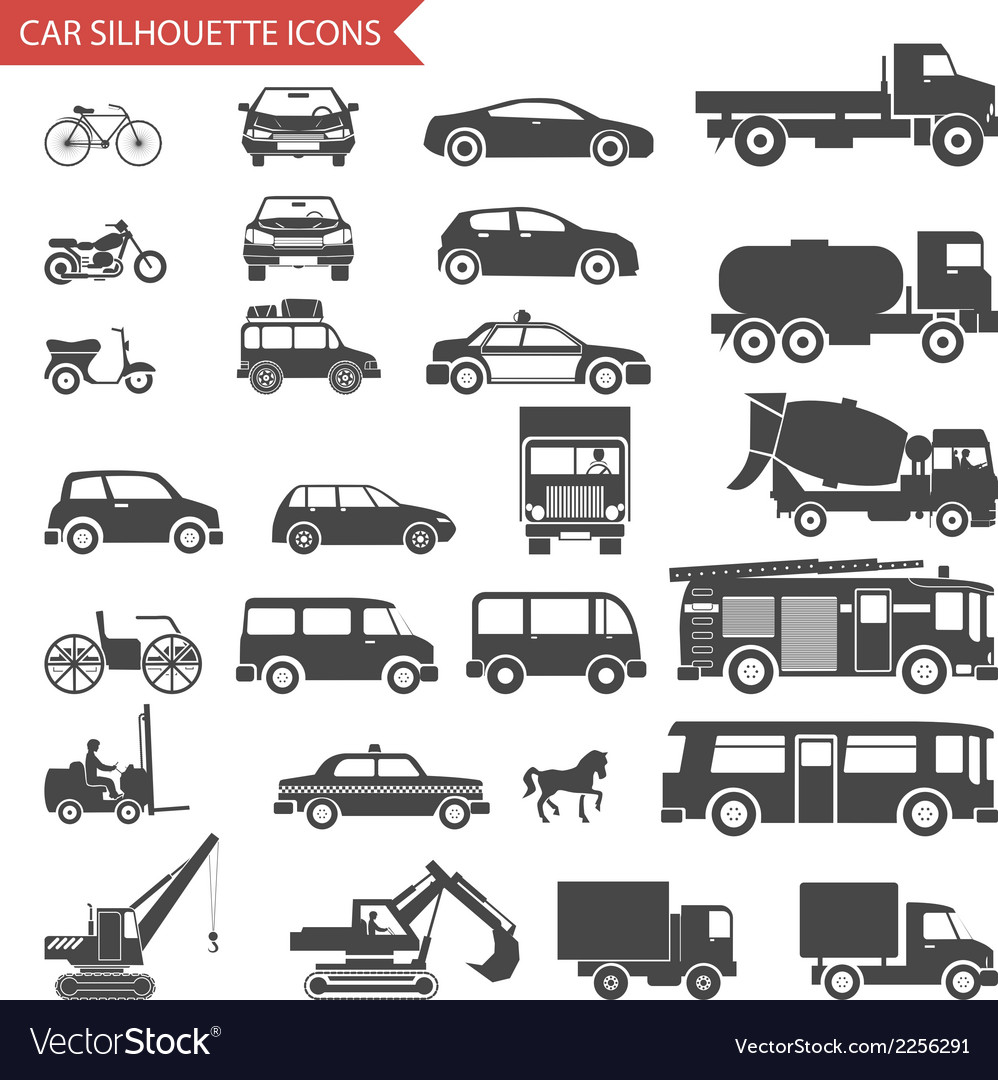 Cars and vehicles silhouette icons transport vector