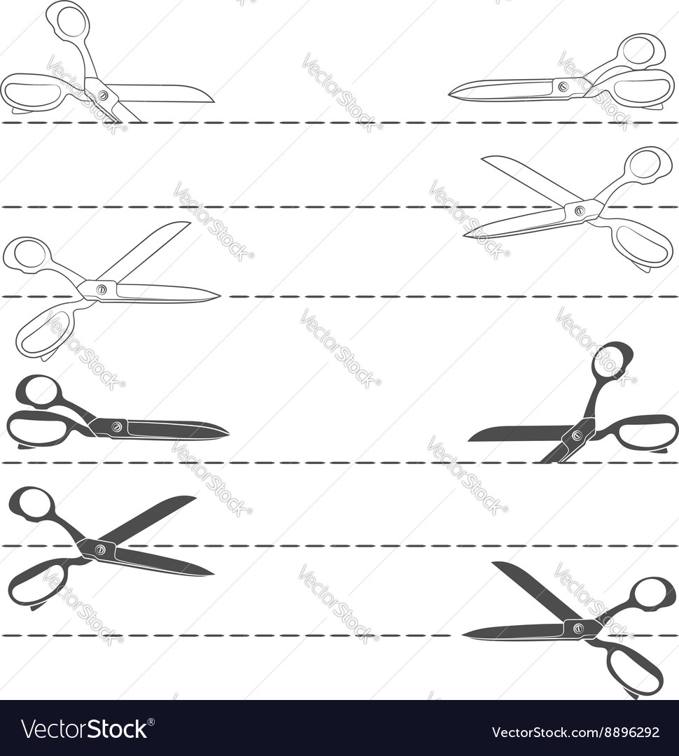 Set with line cutting with scissors vector