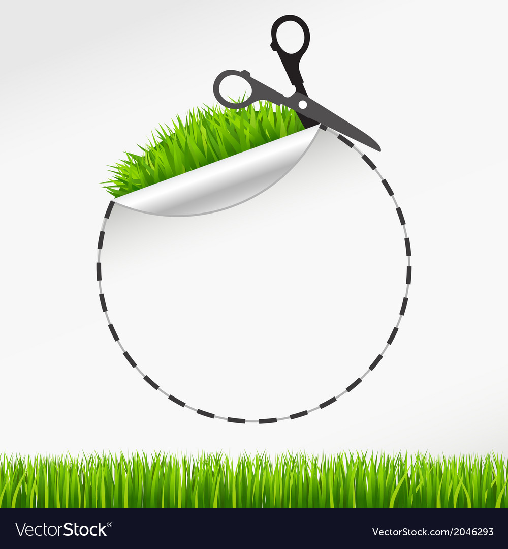 Scissors cut round sticker green grass vector