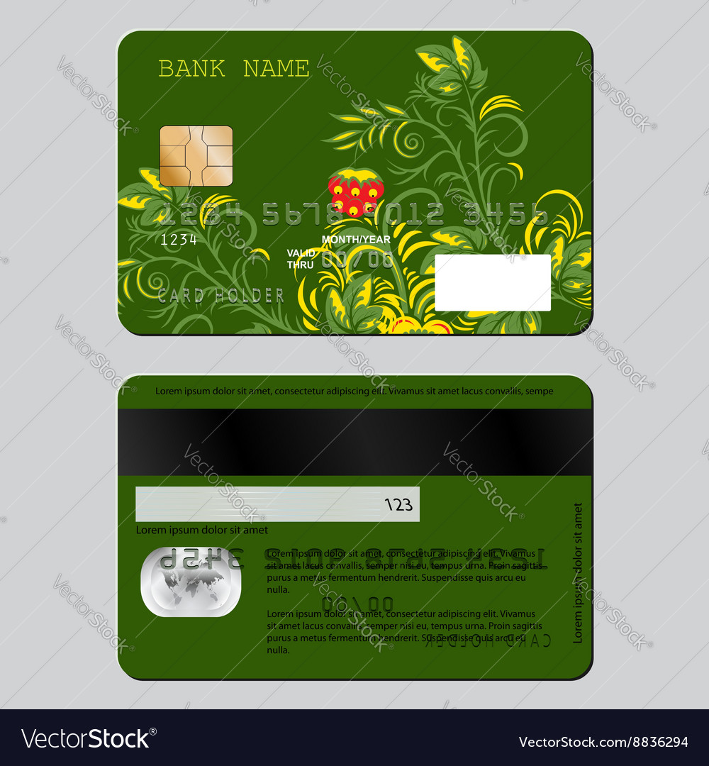 Sample design template credit card from two sides vector