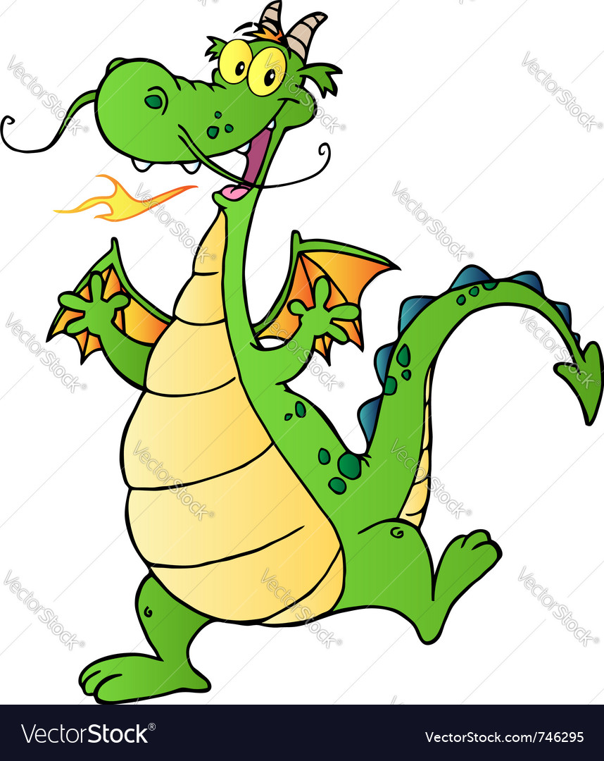 Happy green dragon dancing vector