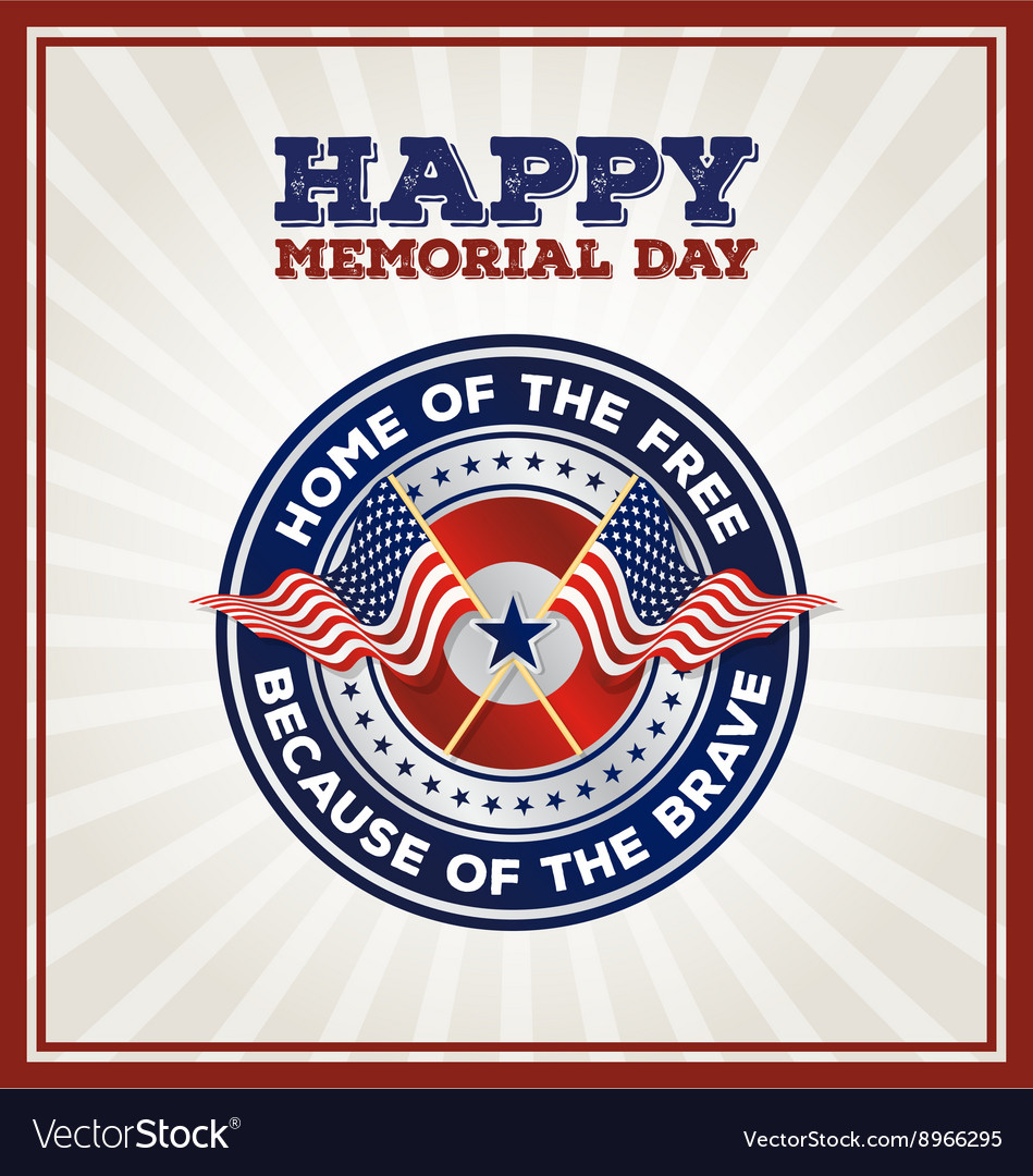 Happy memorial day badge vector