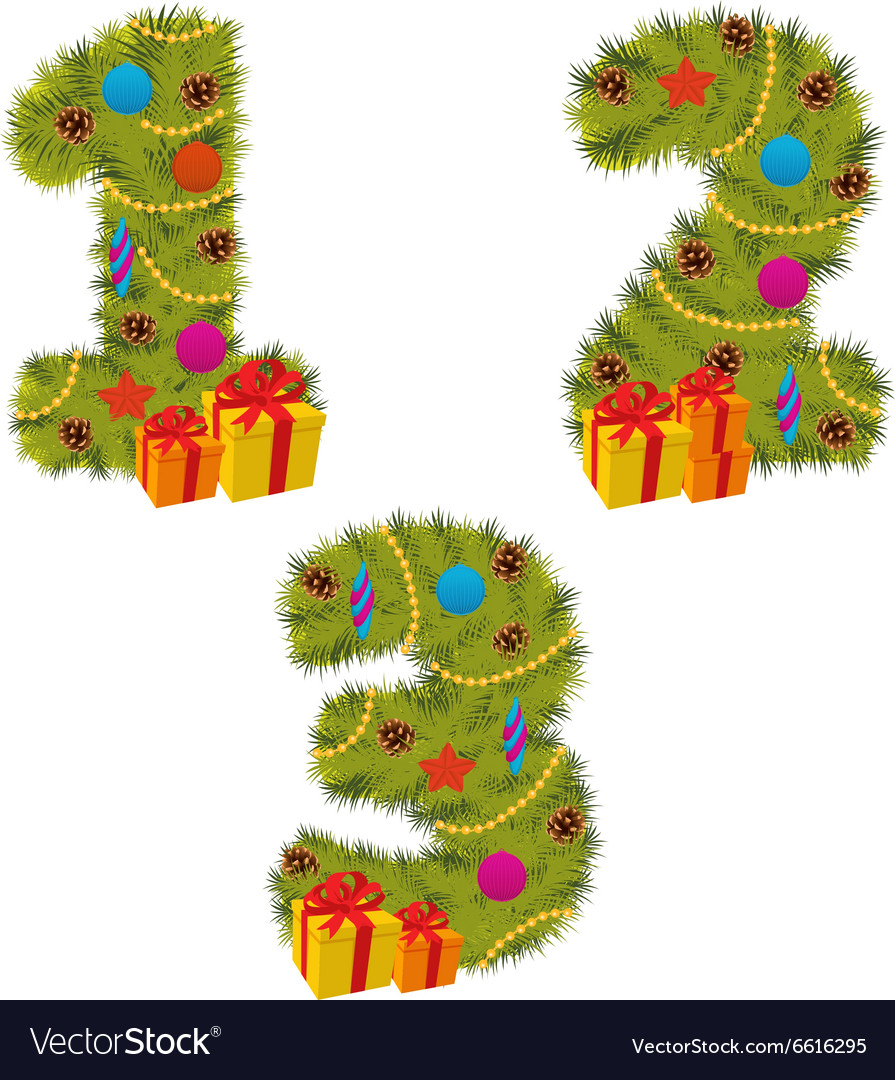 Set of numbers christmas tree from 1 to 3 vector