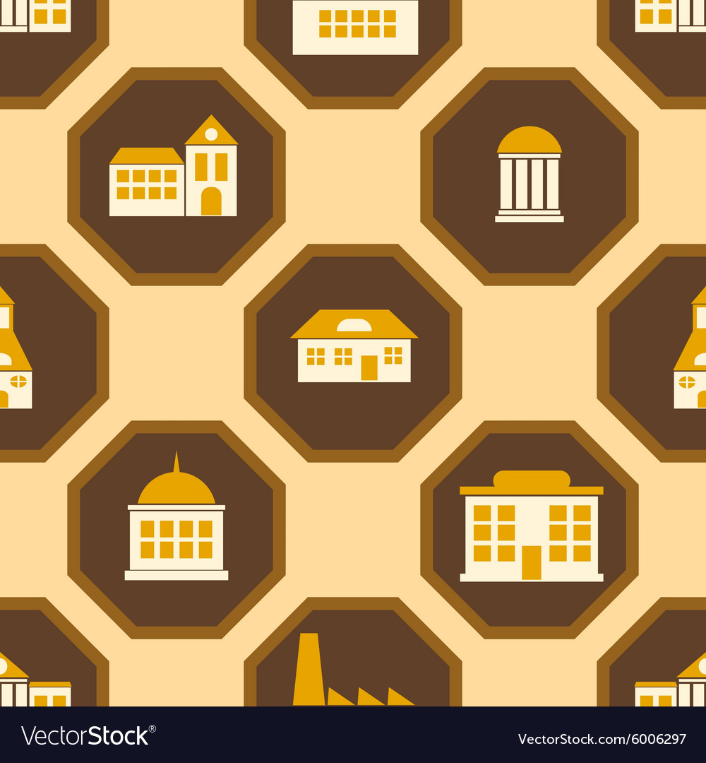Seamless background with town buildings vector